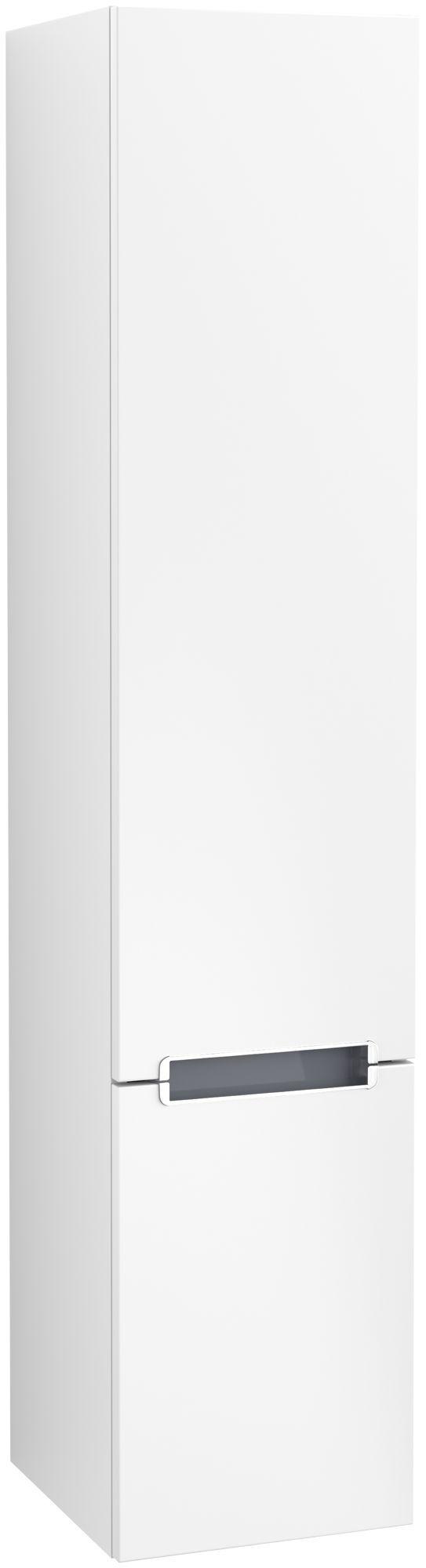 Villeroy & Boch Subway 2.0 Hochschrank 2 Türen Anschlag links B:350xT:370xH:1650mm weiß matt Griffe silberfarbig matt A70900MS