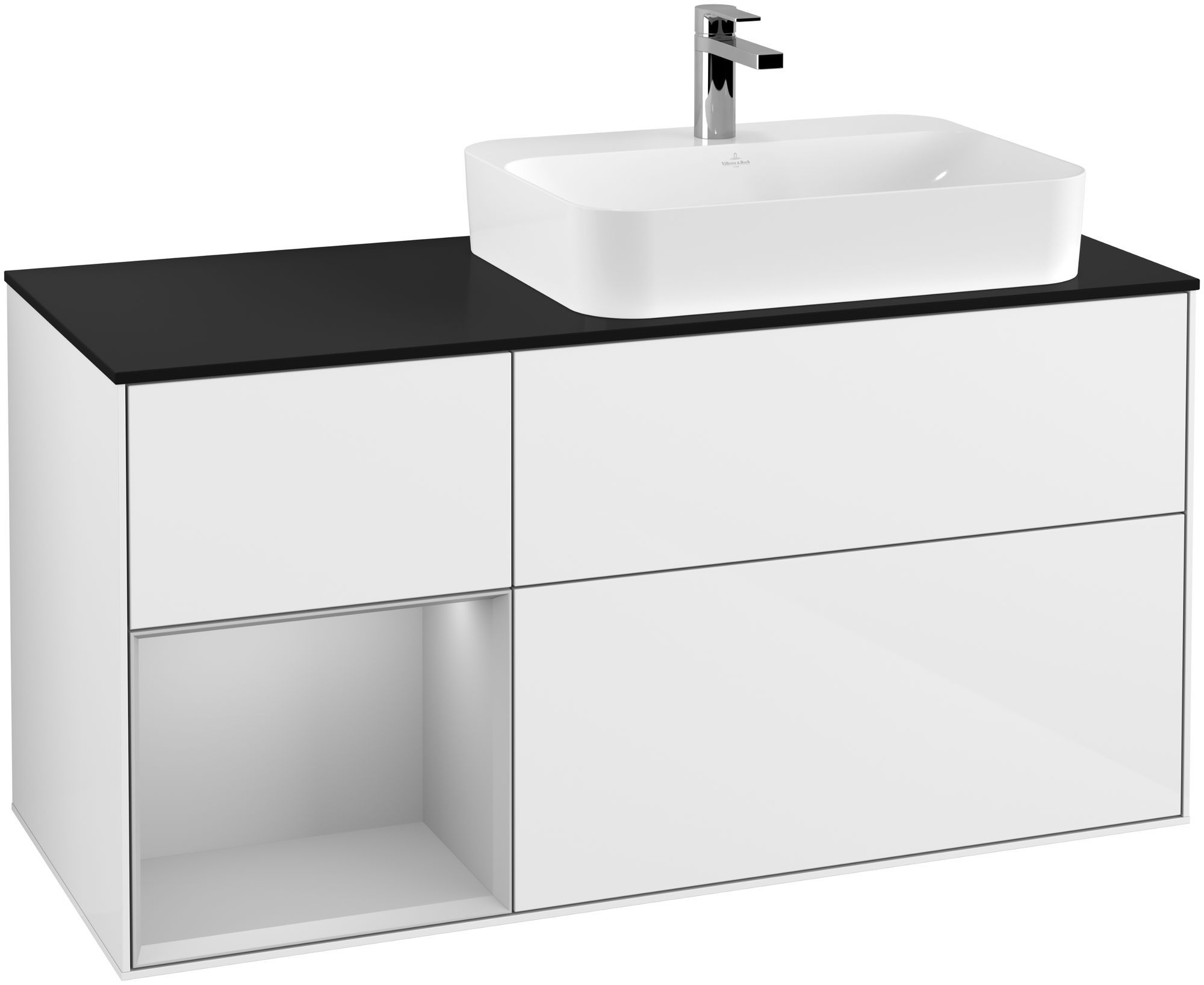 Villeroy & Boch Finion F39 Waschtischunterschrank mit Regalelement 3 Auszüge für WT rechts LED-Beleuchtung B:120xH:60,3xT:50,1cm Front, Korpus: Glossy White Lack, Regal: Light Grey Matt, Glasplatte: Black Matt F392GJGF