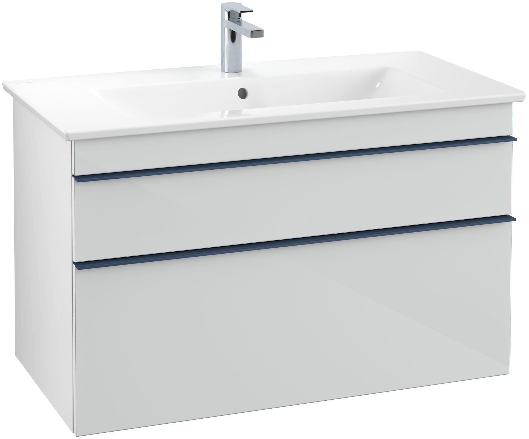 Villeroy & Boch Venticello Waschtischunterschrank 2 Auszüge B:95,3xH:59xT:50,2cm Glas glossy white Griffe blau Griffe blau A92604RE
