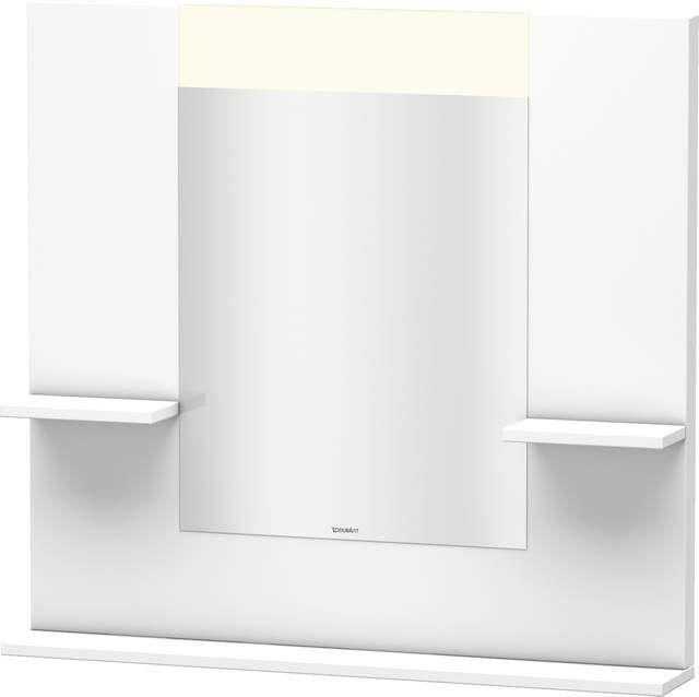 Duravit Vero Spiegel mit LED-Beleuchtung B:85xH:80xT:14,2cm mit Ablagen rechts links und unten weiß matt VE735001818