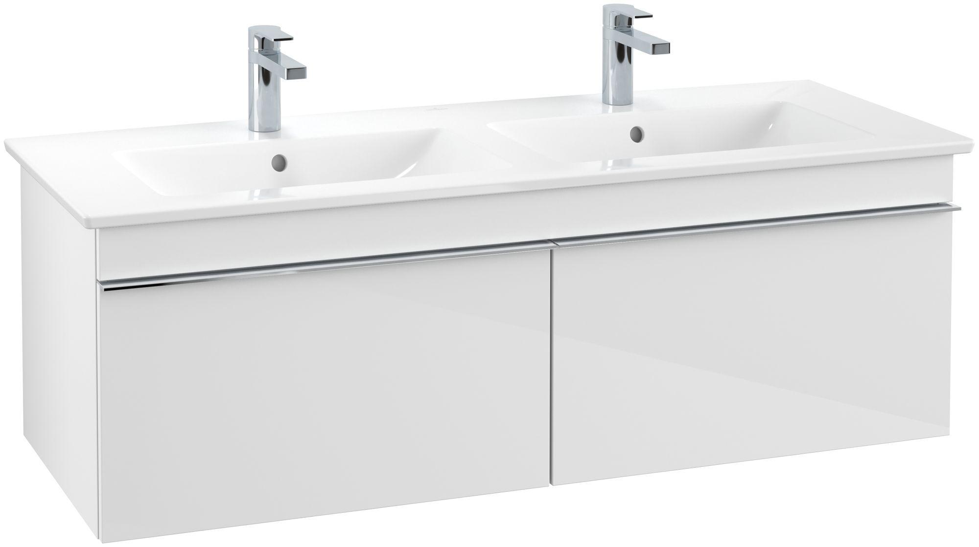 Villeroy & Boch Venticello Waschtischunterschrank 2 Auszüge B:1253xT:502xH:420mm glossy weiß Griffe chrom A93901DH