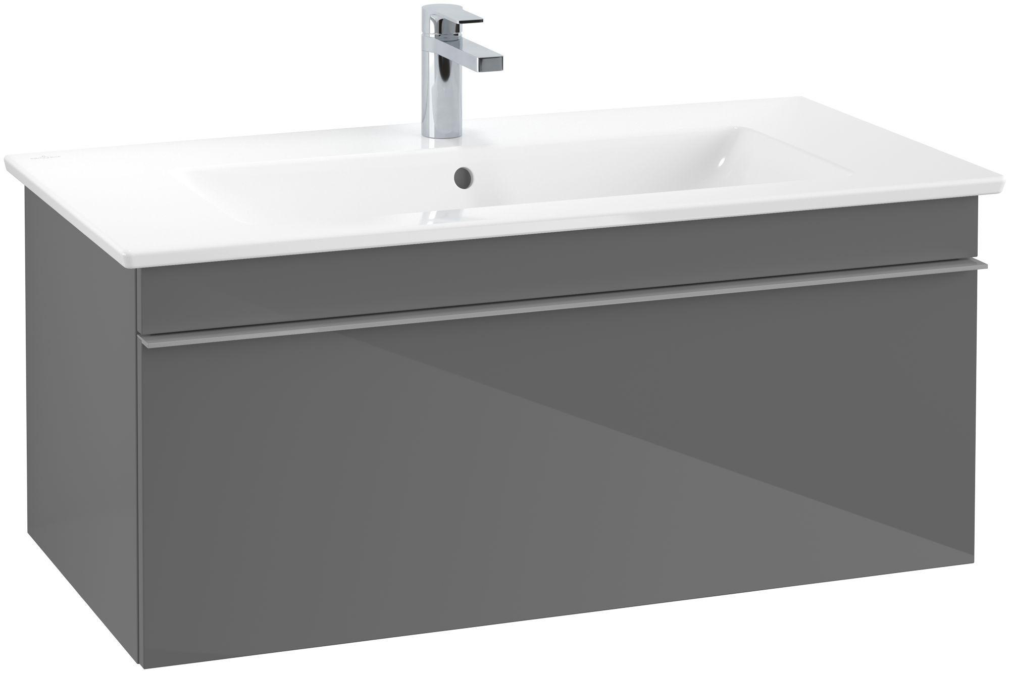 Villeroy & Boch Venticello Waschtischunterschrank 1 Auszug B:953xT:502xH:420mm glossy grey Griffe grau A93503FP