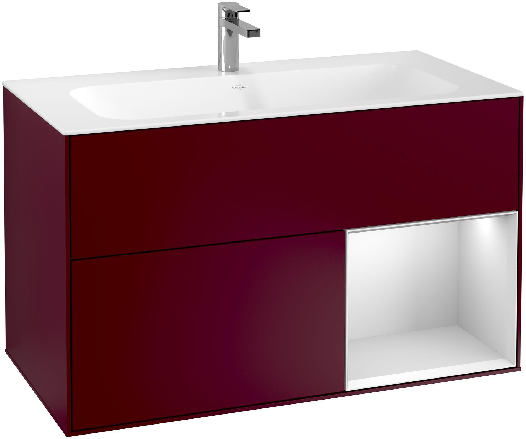 Villeroy & Boch Finion F04 Waschtischunterschrank mit Regalelement 2 Auszüge LED-Beleuchtung B:99,6xH:59,1xT:49,8cm Front, Korpus: Peony, Regal: Weiß Matt Soft Grey F040MTHB