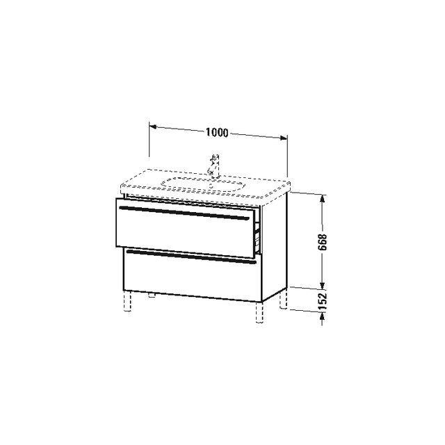 Duravit X-Large Waschtischunterschrank wandhängend B:100xH:66,8xT:47 cm mit 2 Auszügen flannel grey hochglanz XL651708989