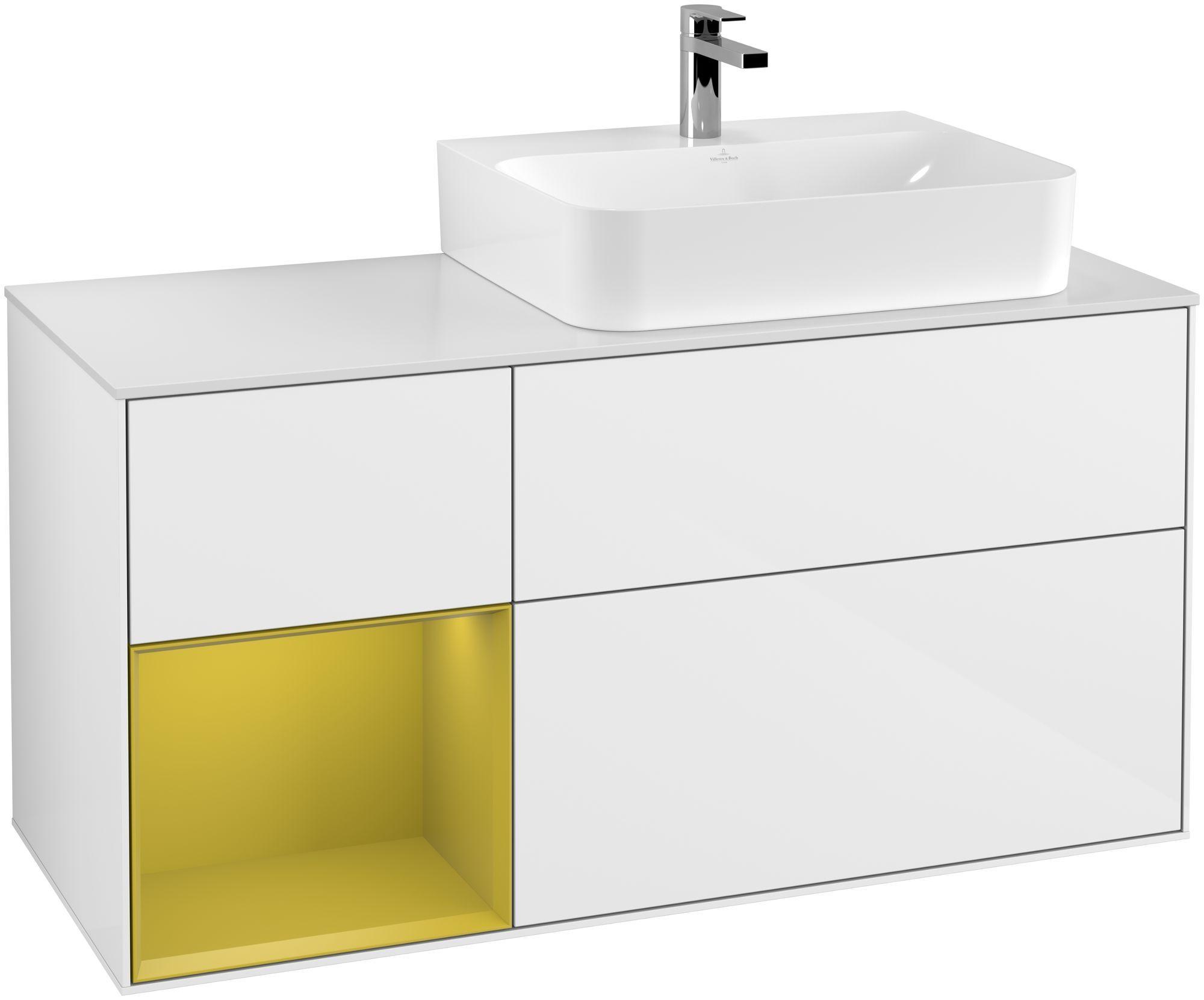 Villeroy & Boch Finion F14 Waschtischunterschrank mit Regalelement 3 Auszüge Waschtisch rechts LED-Beleuchtung B:120xH:60,3xT:50,1cm Front, Korpus: Glossy White Lack, Regal: Sun, Glasplatte: White Matt F141HEGF