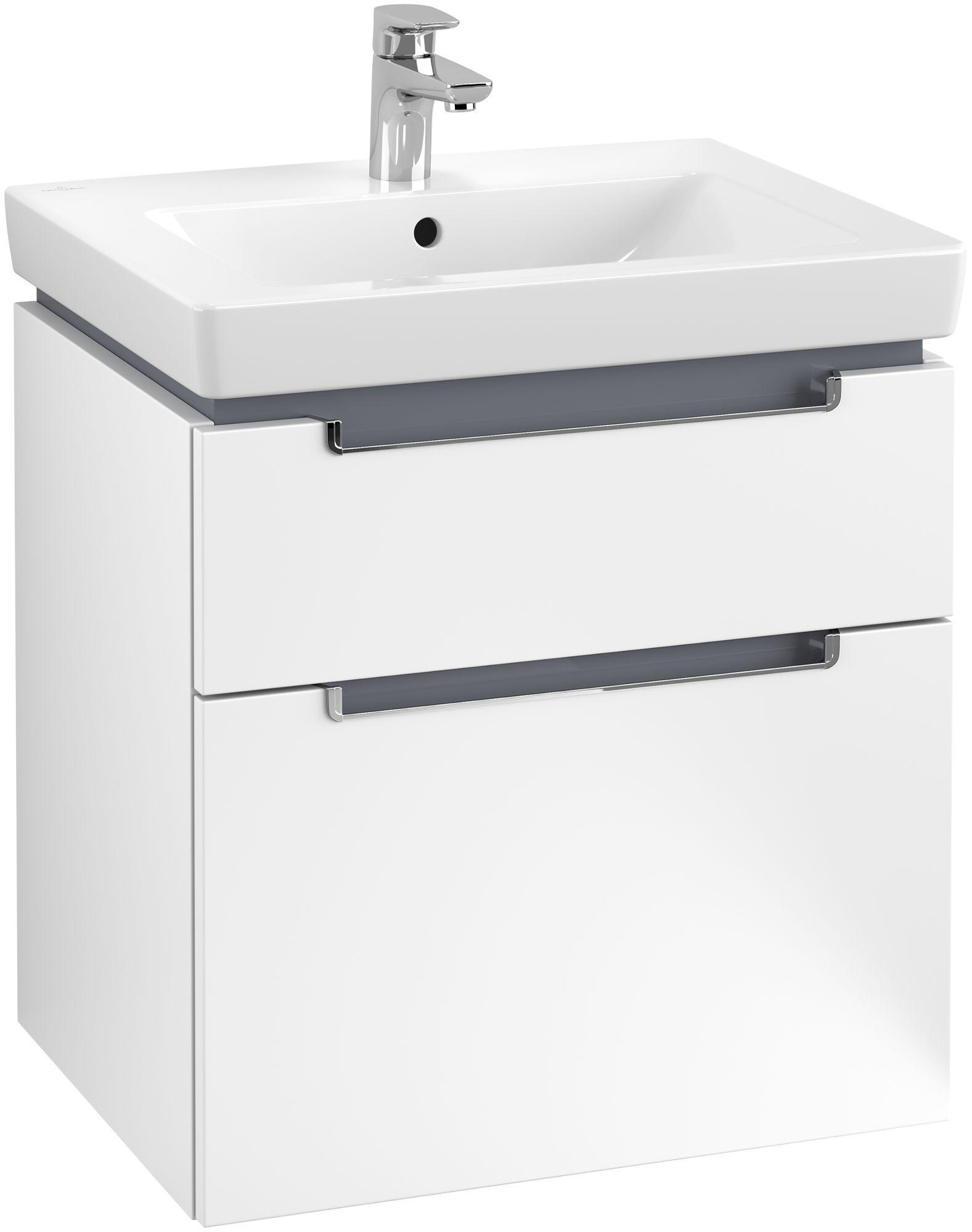Villeroy & Boch Subway 2.0 Waschtischunterschrank 2 Auszüge B:587xT:454xH:590mm weiß matt Griffe chrom A90910MS