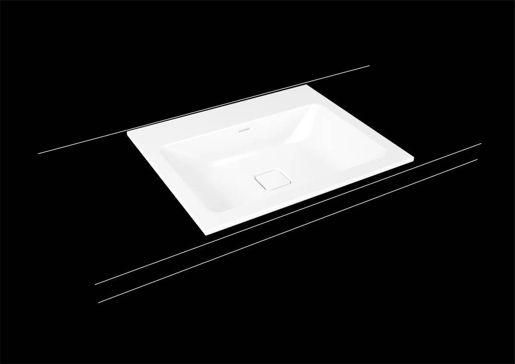 Kaldewei Cono Einbauwaschtisch 3080 B:60xT:50cm ohne Überlauf mit 3 Hahnlöchern weiß mit Perl-Effekt 901606033001