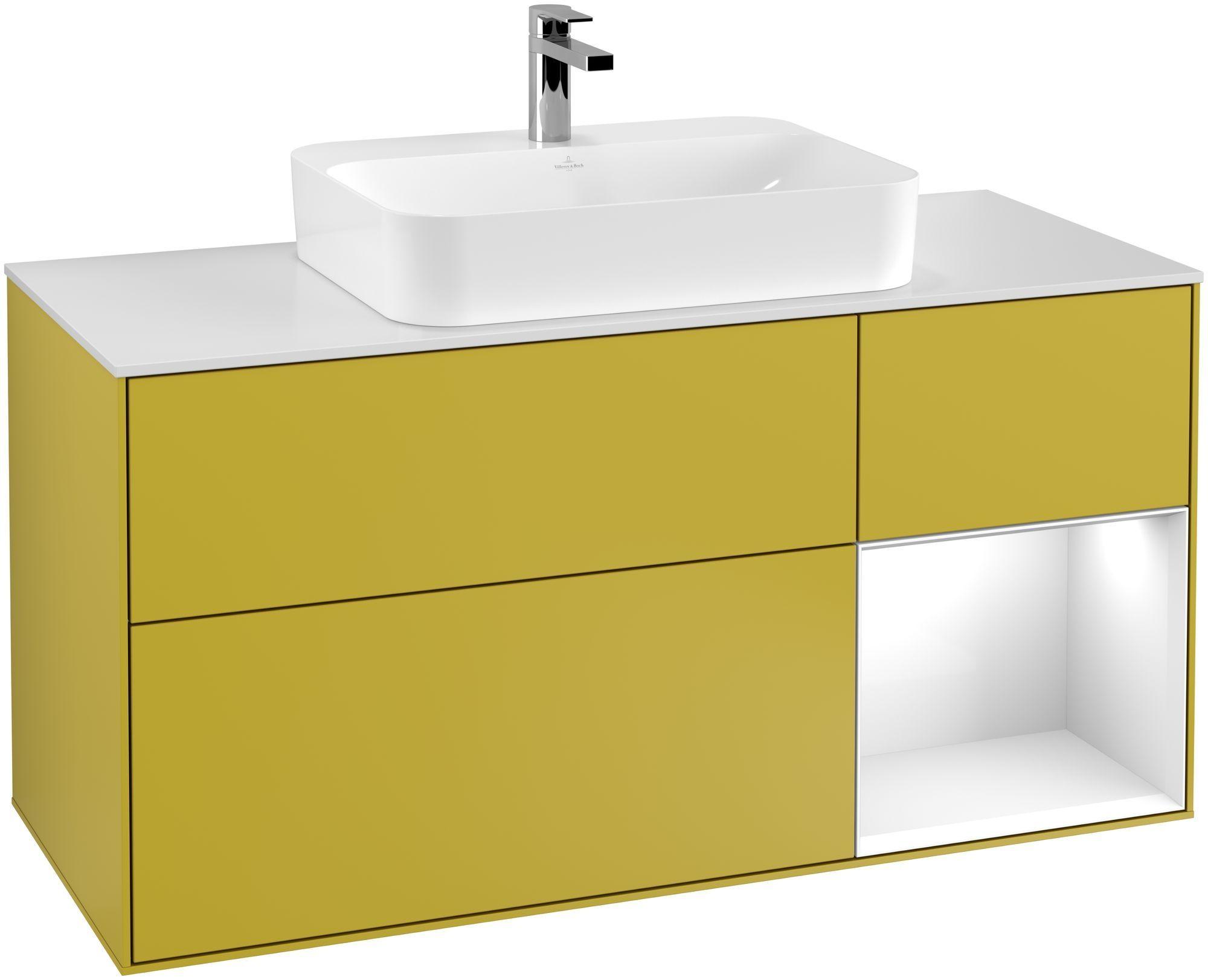 Villeroy & Boch Finion F42 Waschtischunterschrank mit Regalelement 3 Auszüge Waschtisch mittig LED-Beleuchtung B:120xH:60,3xT:50,1cm Front, Korpus: Sun, Regal: Glossy White Lack, Glasplatte: White Matt F421GFHE
