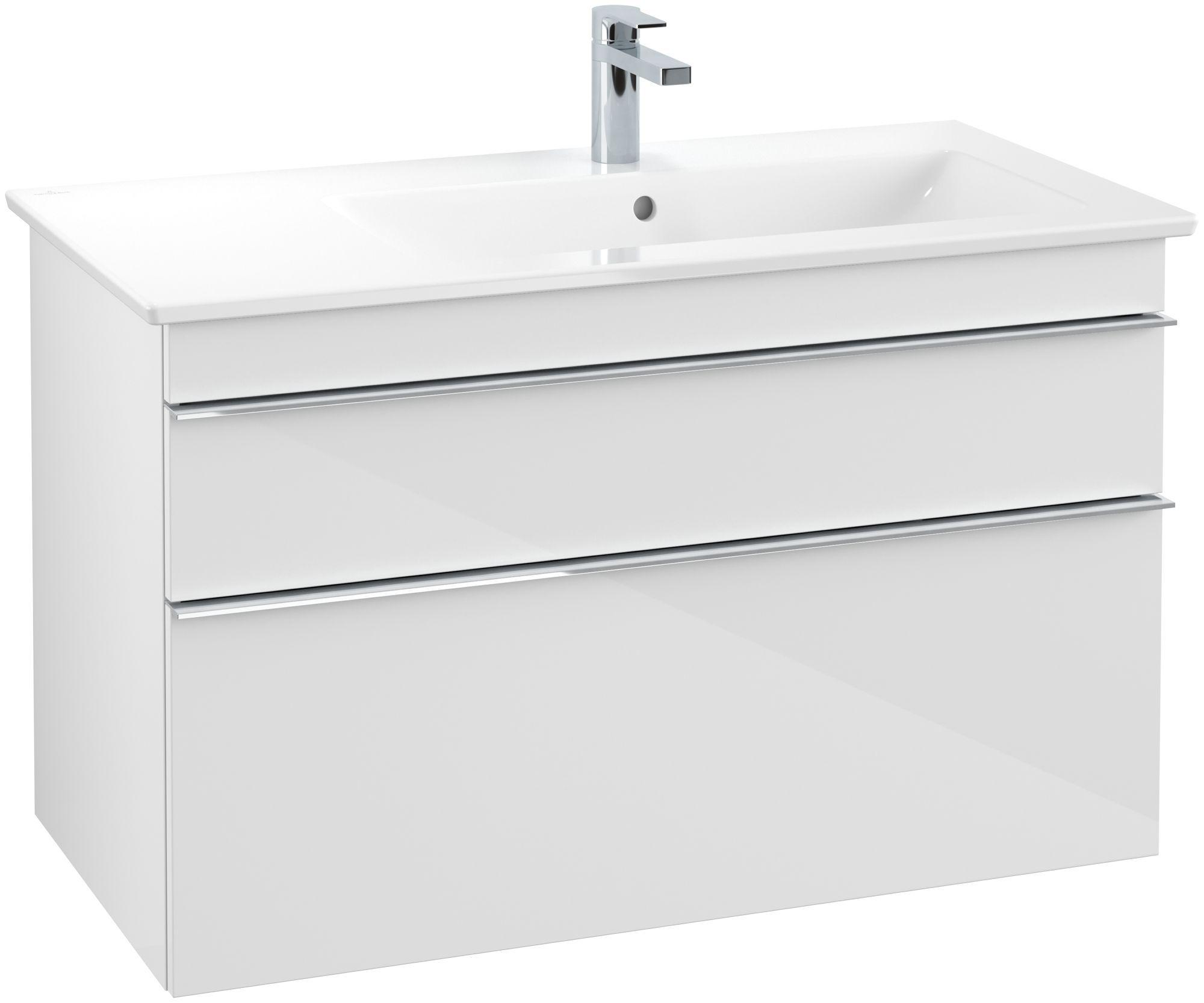 Villeroy & Boch Venticello Waschtischunterschrank 2 Auszüge B:953xT:502xH:590mm glossy weiß Griffe chrom A92801DH