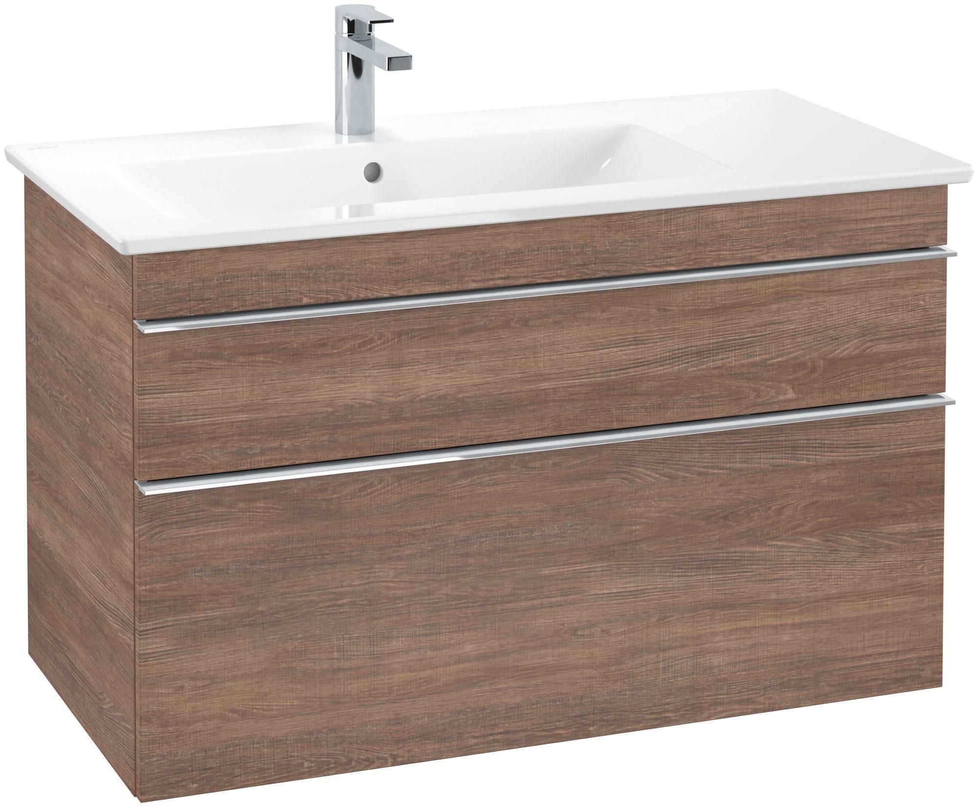 Villeroy & Boch Venticello Waschtischunterschrank 2 Auszüge B:953xT:502xH:590mm santana oak Griffe chrom A92701E1