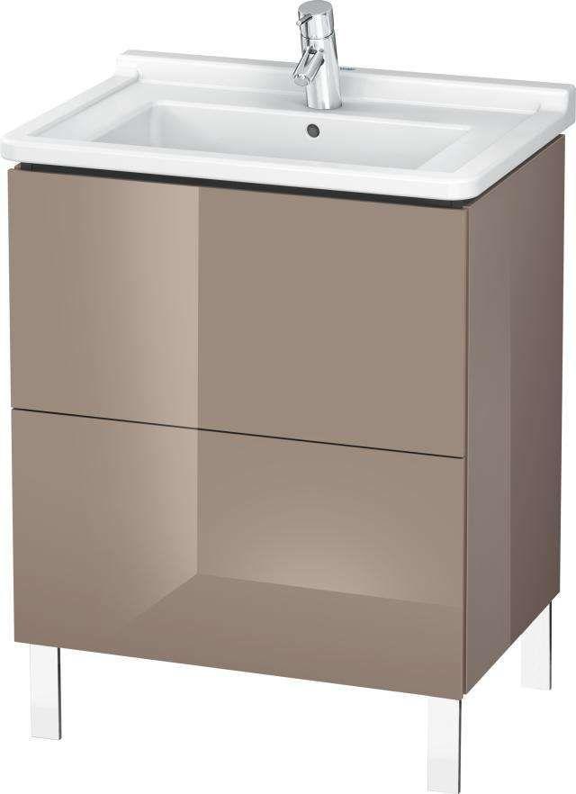 Duravit L-Cube Waschtischunterschrank stehend B:67xH:71,2xT:46,9 cm mit 2 Auszügen cappuccino hochglanz LC660808686