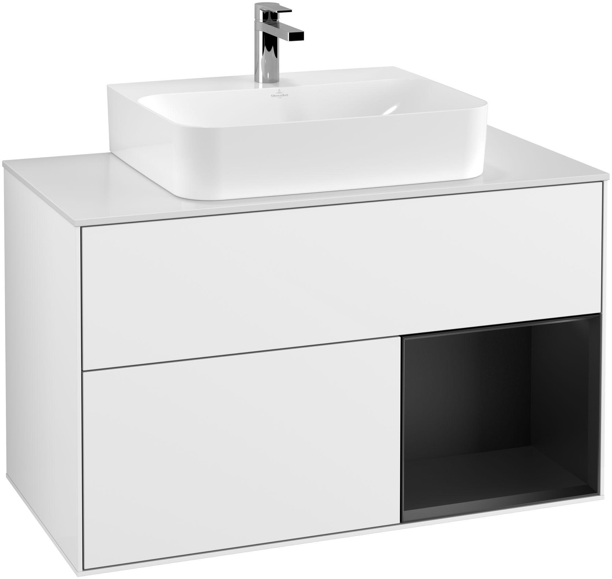 Villeroy & Boch Finion G12 Waschtischunterschrank mit Regalelement 2 Auszüge für WT mittig LED-Beleuchtung B:100xH:60,3xT:50,1cm Front, Korpus: Glossy White Lack, Regal: Black Matt Lacquer, Glasplatte: White Matt G121PDGF