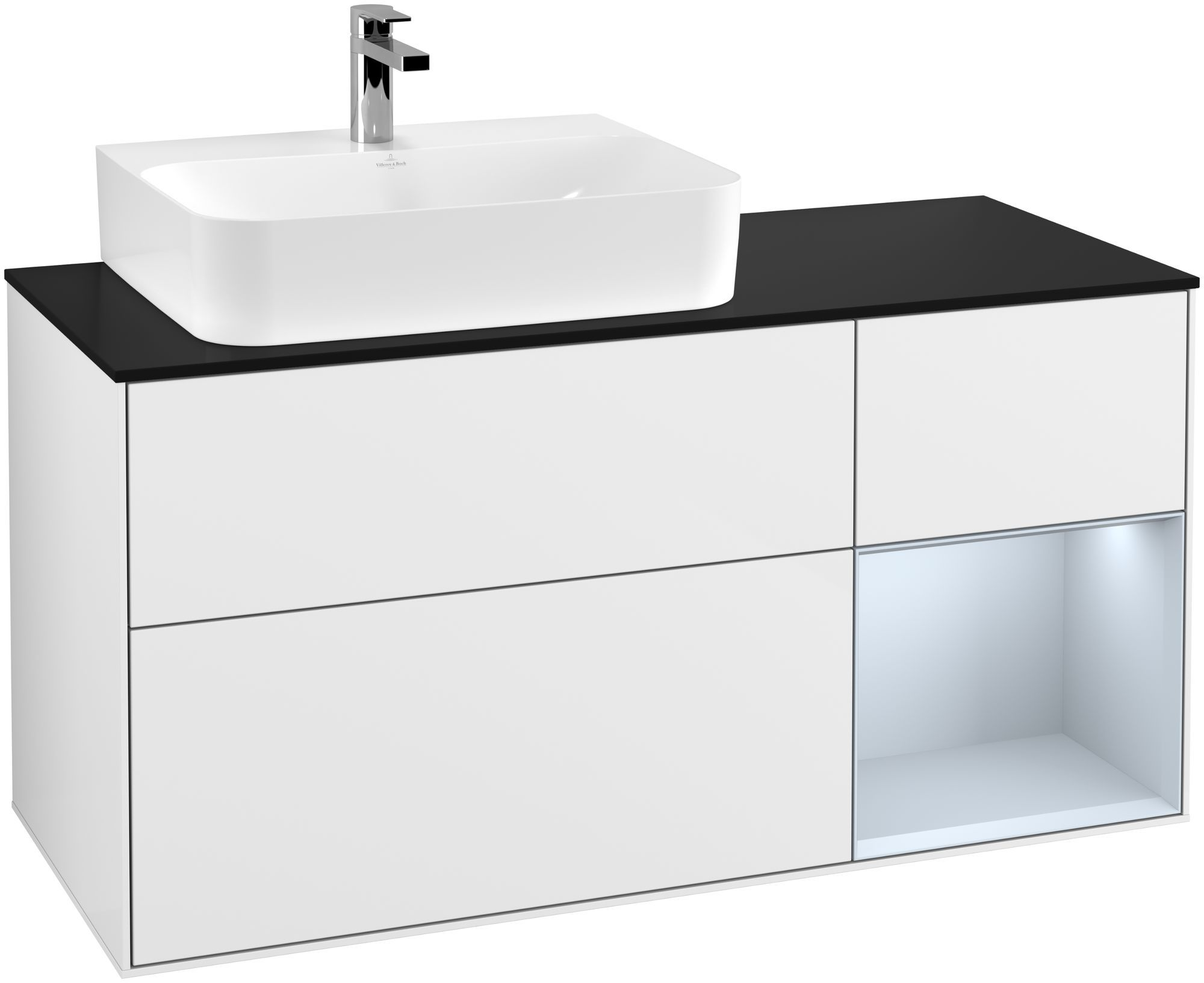 Villeroy & Boch Finion F15 Waschtischunterschrank mit Regalelement 3 Auszüge Waschtisch links LED-Beleuchtung B:120xH:60,3xT:50,1cm Front, Korpus: Glossy White Lack, Regal: Cloud, Glasplatte: Black Matt F152HAGF