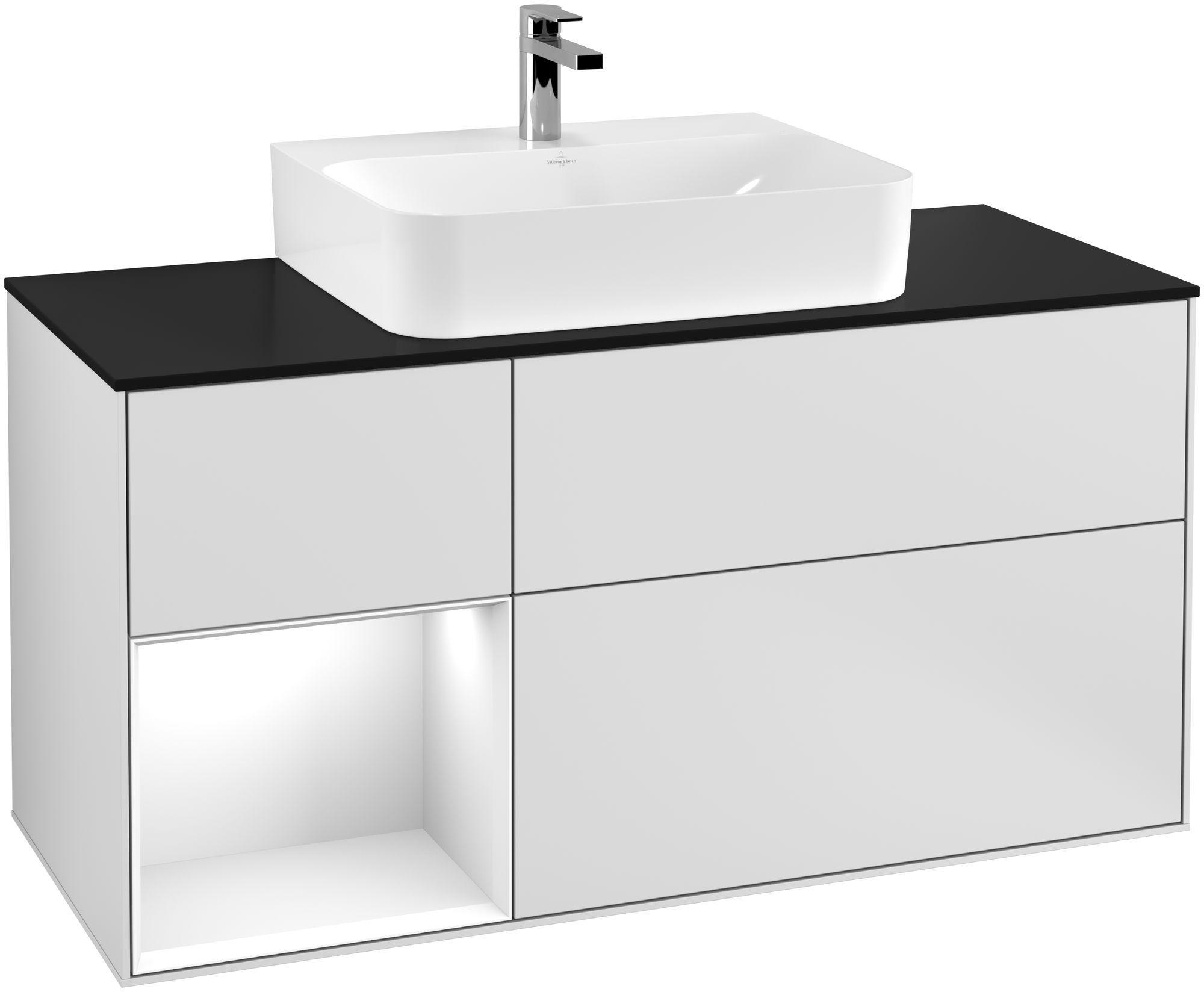 Villeroy & Boch Finion G16 Waschtischunterschrank mit Regalelement 3 Auszüge Waschtisch mittig LED-Beleuchtung B:120xH:60,3xT:50,1cm Front, Korpus: Weiß Matt Soft Grey, Regal: Glossy White Lack, Glasplatte: Black Matt G162GFMT