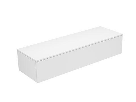 Keuco Edition 400 Sideboard wandhängend 1 Frontauszug 1400 x 289 x 450 mm weiß/Glas cashmere satiniert 31761750001