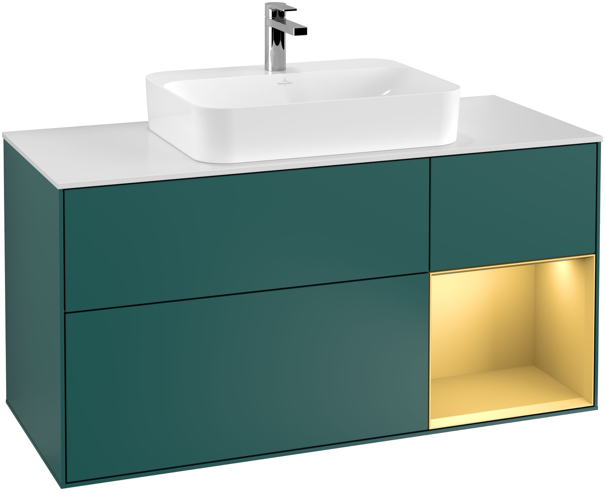 Villeroy & Boch Finion G42 Waschtischunterschrank mit Regalelement 3 Auszüge Waschtisch mittig LED-Beleuchtung B:120xH:60,3xT:50,1cm Front, Korpus: Cedar, Regal: Gold Matt, Glasplatte: White Matt G421HFGS