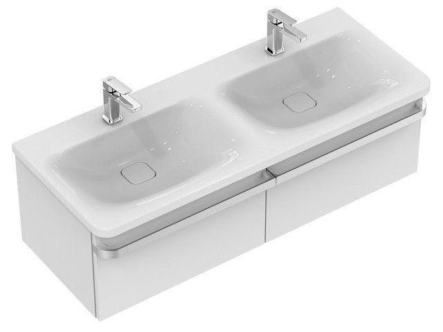 Ideal Standard Tonic II Möbel-Doppelwaschtisch B:121,5xT:49xH:17cm 1 Hahnloch mittig ohne Überlauf weiß mit IdealPlus K0870MA