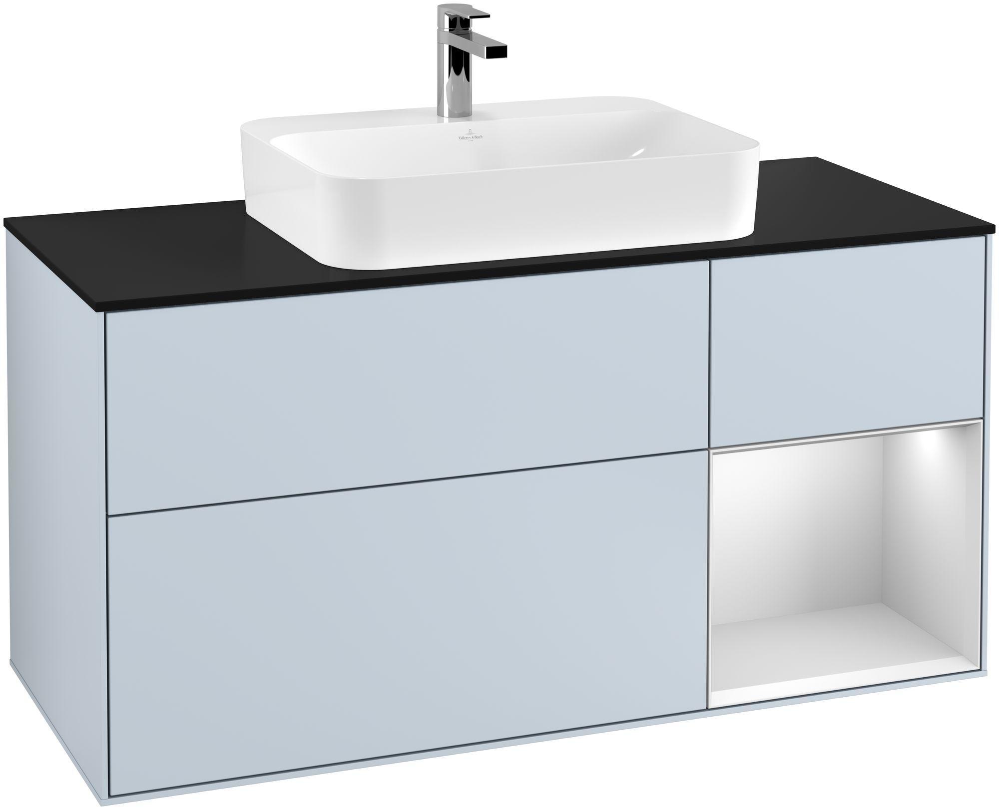Villeroy & Boch Finion F42 Waschtischunterschrank mit Regalelement 3 Auszüge Waschtisch mittig LED-Beleuchtung B:120xH:60,3xT:50,1cm Front, Korpus: Cloud, Regal: Weiß Matt Soft Grey, Glasplatte: Black Matt F422MTHA
