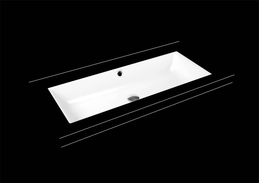 Kaldewei Puro Unterbauwaschtisch 3161 B:90xT:38,5cm mit Überlauf ohne Hahnloch weiß mit Perl-Effekt 901106003001