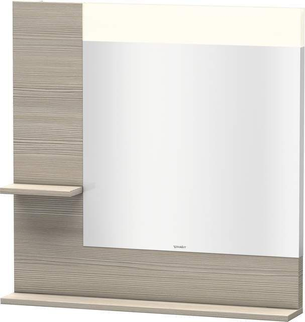 Duravit Vero Spiegel mit LED-Beleuchtung B:80xH:80xT:14,2cm mit Ablagen links und unten pine silver VE731103131