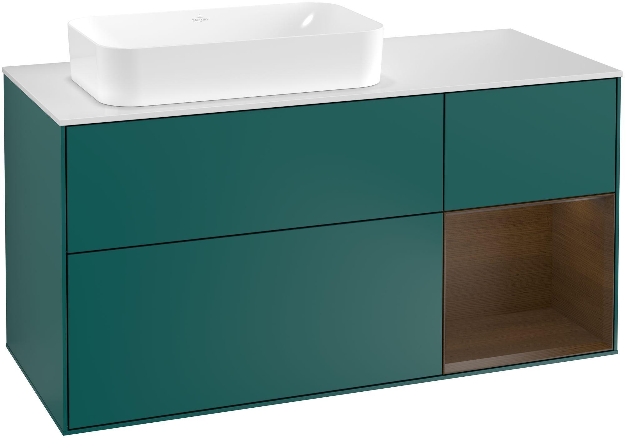 Villeroy & Boch Finion G28 Waschtischunterschrank mit Regalelement 3 Auszüge Waschtisch links LED-Beleuchtung B:120xH:60,3xT:50,1cm Front, Korpus: Cedar, Regal: Walnut Veneer, Glasplatte: White Matt G281GNGS