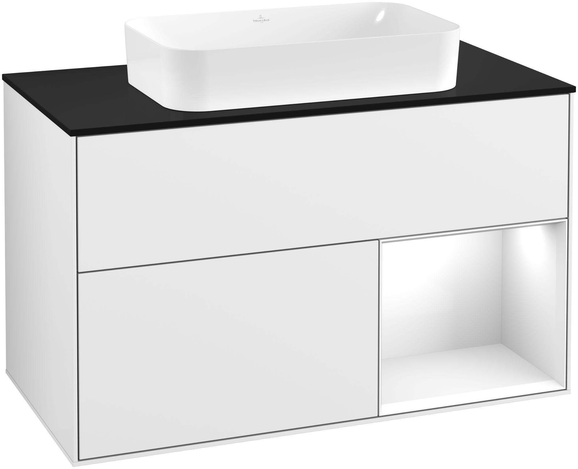 Villeroy & Boch Finion G25 Waschtischunterschrank mit Regalelement 2 Auszüge Waschtisch mittig LED-Beleuchtung B:100xH:60,3xT:50,1cm Front, Korpus: Glossy White Lack, Glasplatte: Black Matt G252GFGF