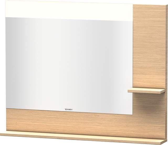 Duravit Vero Spiegel mit LED-Beleuchtung B:100xH:80xT:14,2cm mit Ablagen rechts und unten eiche gebürstet VE732201212