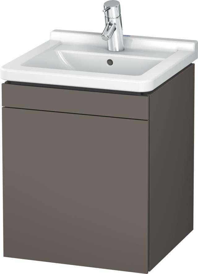 Duravit L-Cube Waschtischunterschrank wandhängend B:46xH:55,8xT:44,7 cm mit 1 Tür Anschlag links flannel grey seidenmatt LC6168L9090