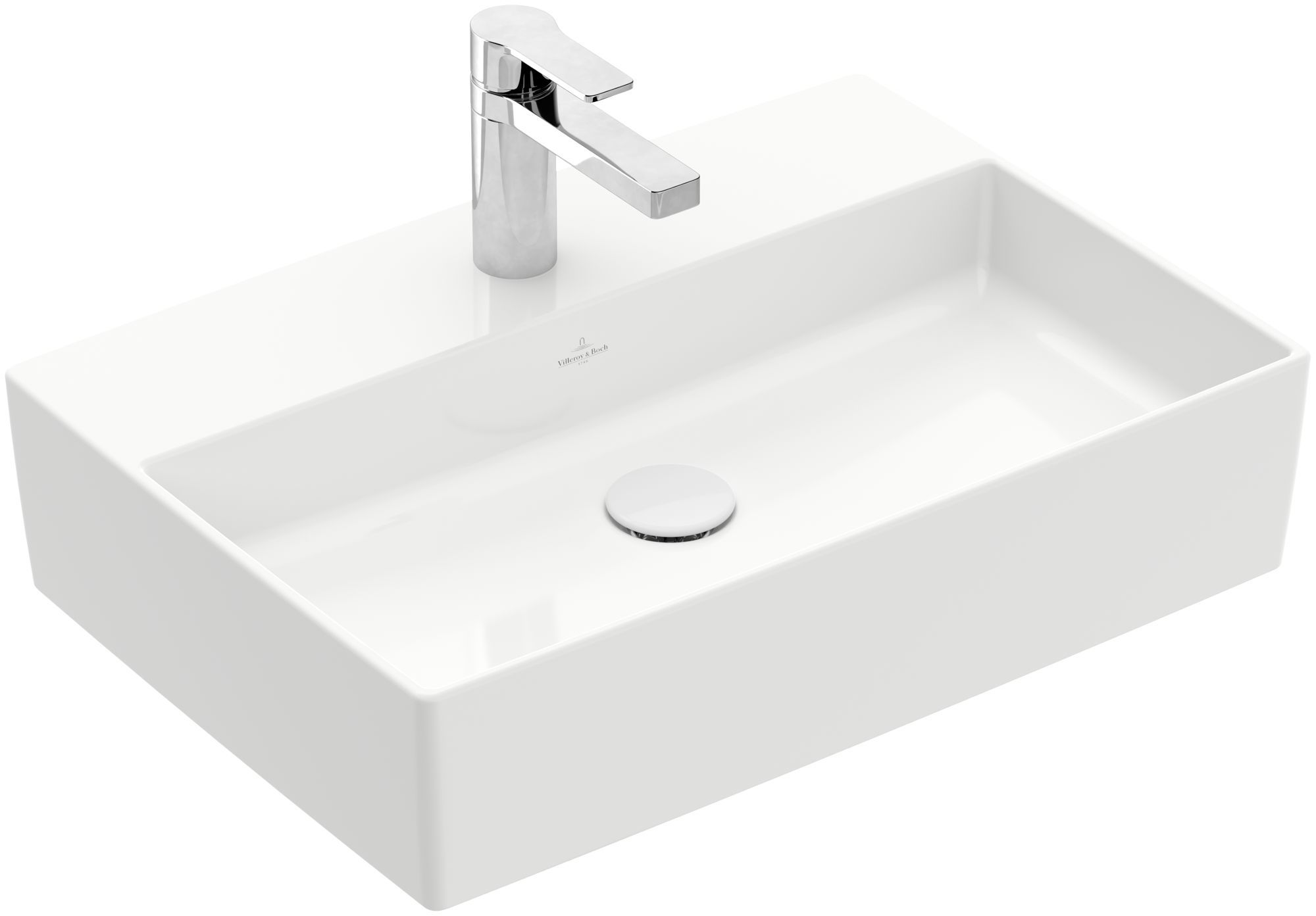 Villeroy & Boch Memento 2.0 Aufsatzwaschtisch ohne Überlauf 1 Hahnloch B:60xT:42cm ohne Überlauf 1 Hahnloch weiß Ceramicplus 4A0761R1