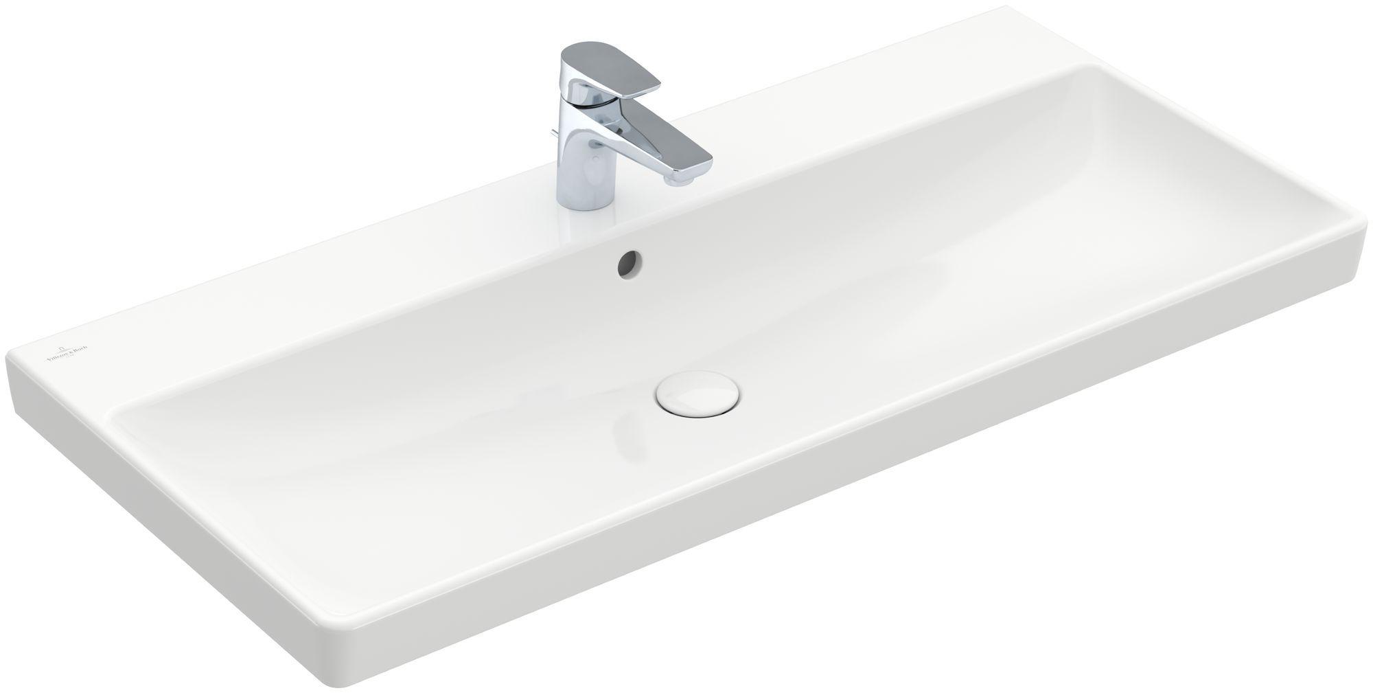 Villeroy & Boch Avento Waschtisch B:100xT:47cm 1 Hahnloch mit Überlauf weiß mit CeramicPlus 4156A5R1