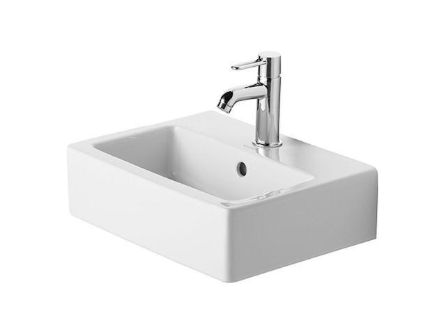 Duravit Vero Handwaschbecken B:45xT:35cm 1 Hahnloch mittig mit Überlauf geschliffen weiß mit Wondergliss 07044500271