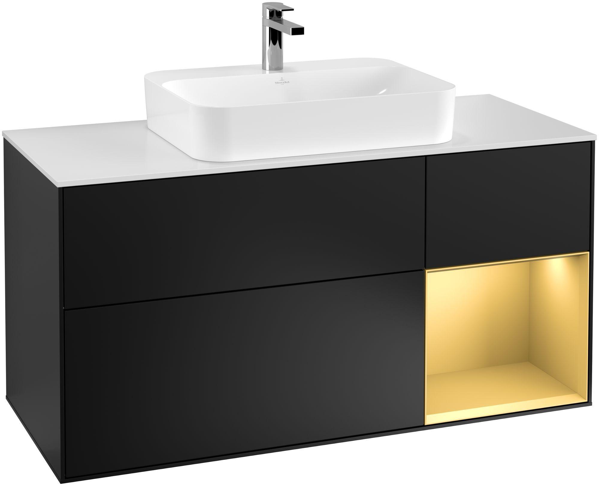 Villeroy & Boch Finion G42 Waschtischunterschrank mit Regalelement 3 Auszüge Waschtisch mittig LED-Beleuchtung B:120xH:60,3xT:50,1cm Front, Korpus: Black Matt Lacquer, Regal: Gold Matt, Glasplatte: White Matt G421HFPD