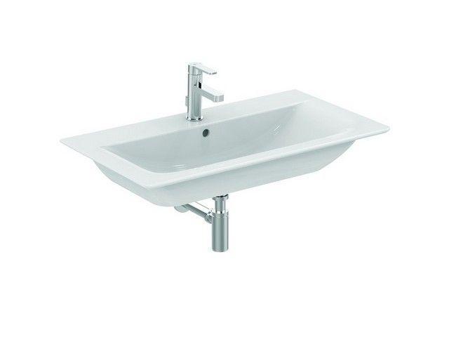 Ideal Standard Connect Air Möbelwaschtisch B:84xH:16,5xT:46 cm 1 Hahnloch mittig mit Überlauf Feinfeuerton weiß mit Ideal Plus E0279MA