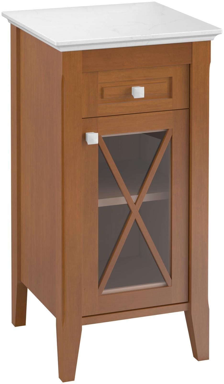 Villeroy & Boch Hommage Seitenschrank 89641101 H: 850 B: 440 T: 425 nussbaum dekor/weiß 1 Schublade 1 Tür 1 Fachboden Keramikgriffe in Sanitärfarbe