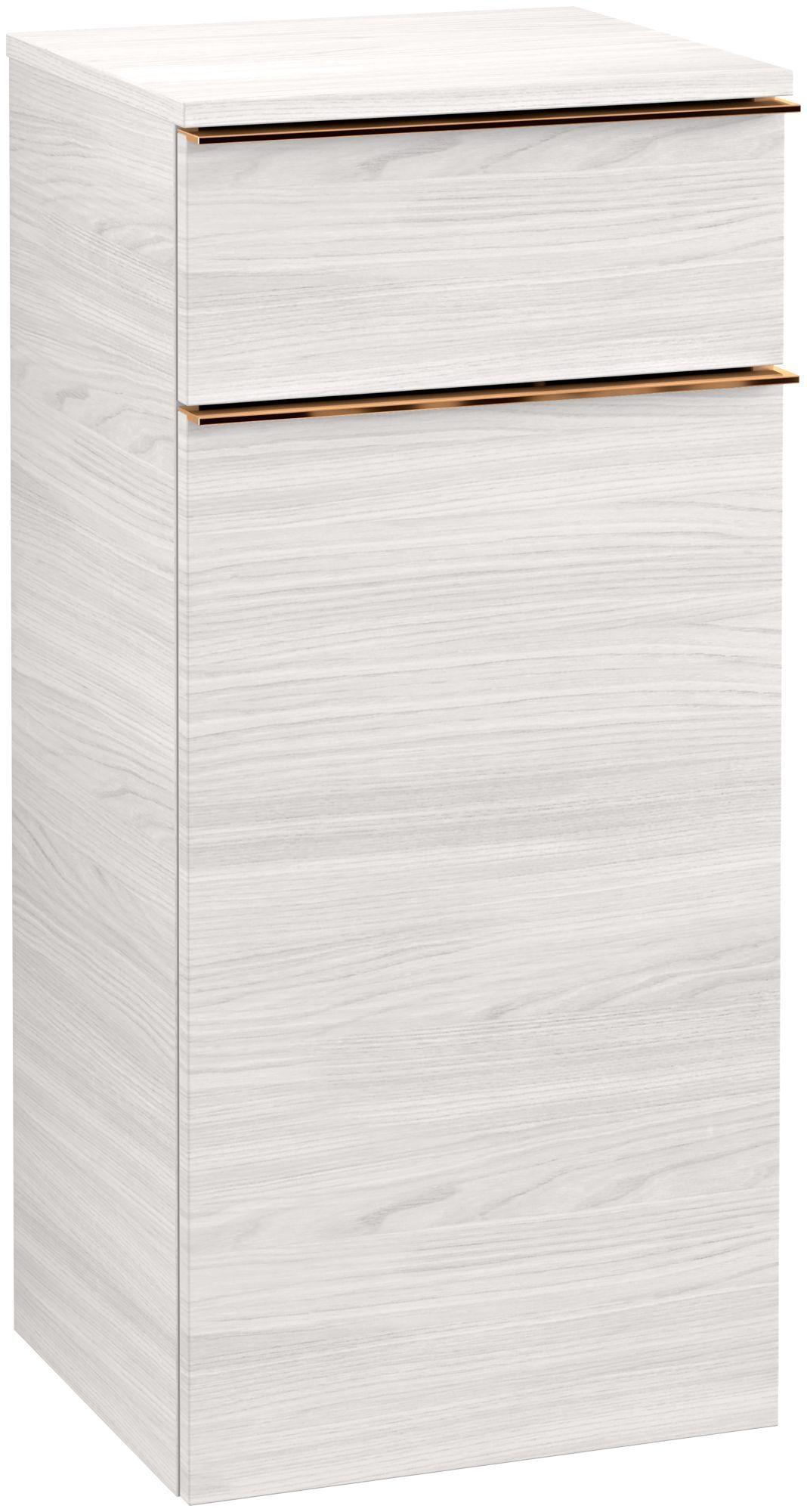 Villeroy & Boch Venticello Seitenschrank 1 Schublade 1 Tür Anschlag rechts B:40,4xH:86,6xT:37,2cm white wood Griffe copper A95015E8