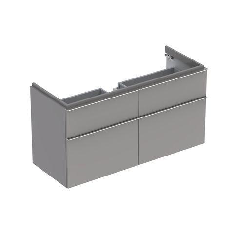 Geberit Keramag iCon Waschtischunterschrank mit 2 Auszügen und 2 Schubladen B:1190xT:477xH:620mm platin hochglanz 840422000