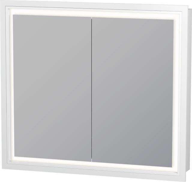 Duravit L-Cube Spiegelschrank Einbauvariante B:80xH:70xT:15,4 cm mit LED Beleuchtung mit 2 Spiegeltüren LC765100000