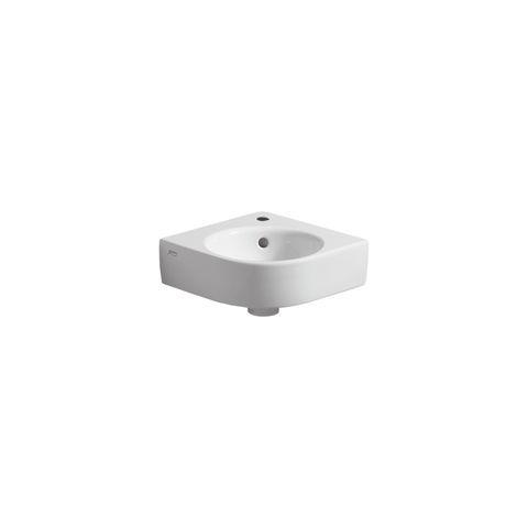 Geberit Keramag Renova Compact Eck-Handwaschbecken B:32xT:32cm 1 Hahnloch mit Überlauf weiß mit KeraTect 276132600