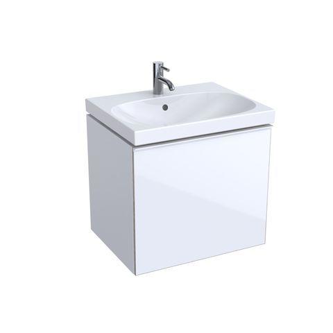 Geberit Keramag Acanto Waschtischunterschrank B:59,5 x H:53,5 x T:47,6 cm Korpus: Weiß Hochglanz, Front: Glas weiß 500609012
