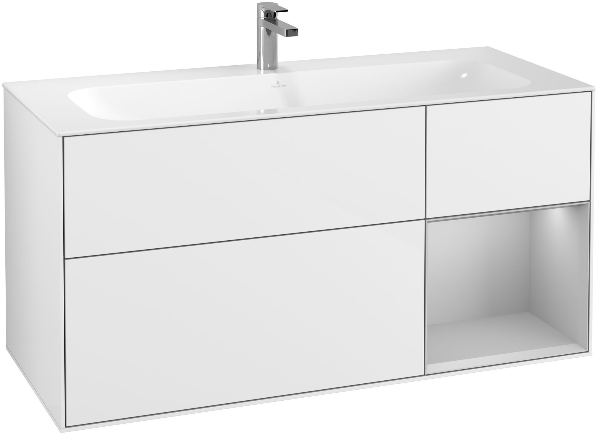 Villeroy & Boch Finion G07 Waschtischunterschrank mit Regalelement 3 Auszüge LED-Beleuchtung B:119,6xH:59,1xT:49,8cm Front, Korpus: Glossy White Lack, Regal: Light Grey Matt G070GJGF