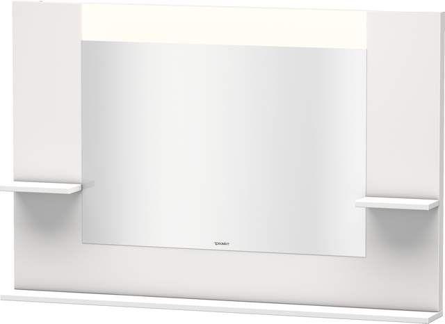 Duravit Vero Spiegel mit LED-Beleuchtung B:120xH:80xT:14,2cm mit Ablagen rechts links und unten weiß hochglanz lack VE735208585