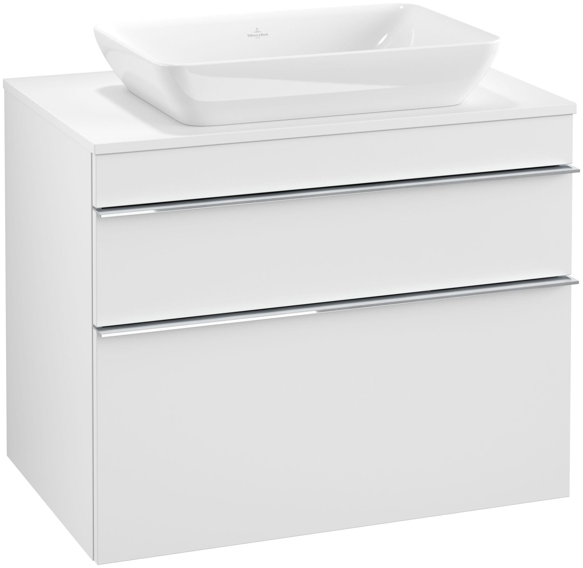 Villeroy & Boch Venticello Waschtischunterschrank 2 Auszüge B:757xT:502xH:606mm weiß matt Griffe chrom A94001MS