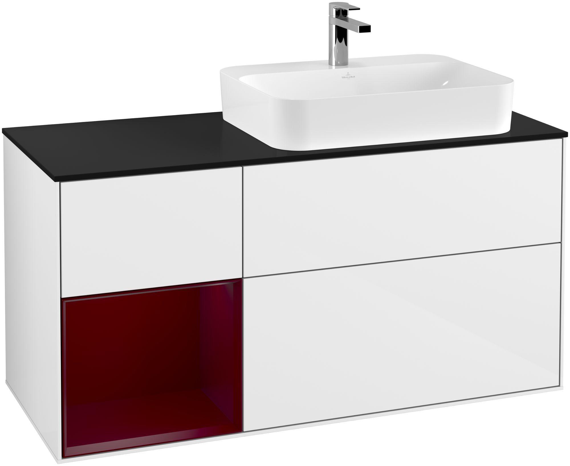 Villeroy & Boch Finion G39 Waschtischunterschrank mit Regalelement 3 Auszüge Waschtisch rechts LED-Beleuchtung B:120xH:60,3xT:50,1cm Front, Korpus: Glossy White Lack, Regal: Peony, Glasplatte: Black Matt G392HBGF