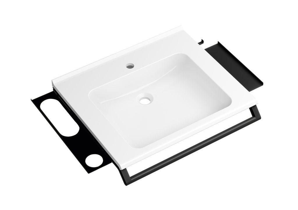 Hewi Waschtisch mit Haltegriff B:65xT:55cm unterfahrbar mit Haltegriff 2 Ablagen und Haken ohne Überlauf weiß 950.19.073 DC