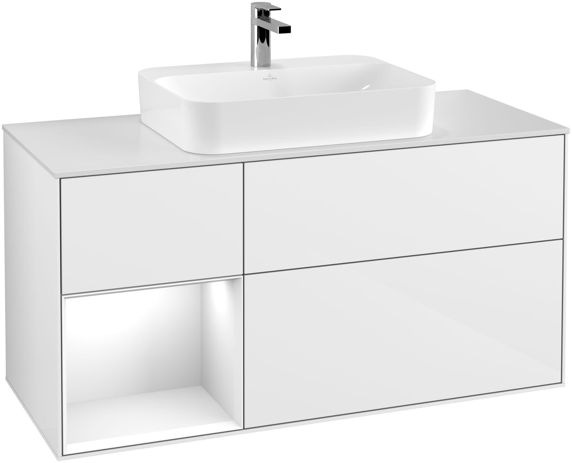 Villeroy & Boch Finion G41 Waschtischunterschrank mit Regalelement 3 Auszüge Waschtisch mittig LED-Beleuchtung B:120xH:60,3xT:50,1cm Front, Korpus: Glossy White Lack, Glasplatte: White Matt G411GFGF