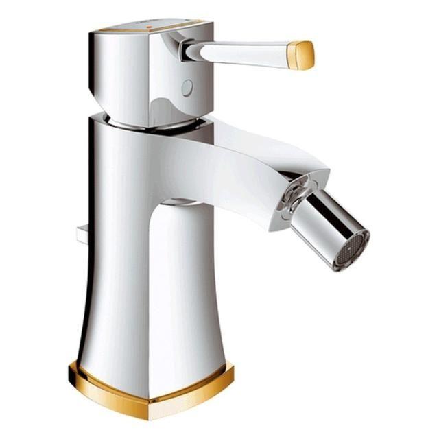 Grohe Grandera Einhand-Bidetbatterie Zugstangen-Ablaufgarnitur chrom / gold 23315IG0