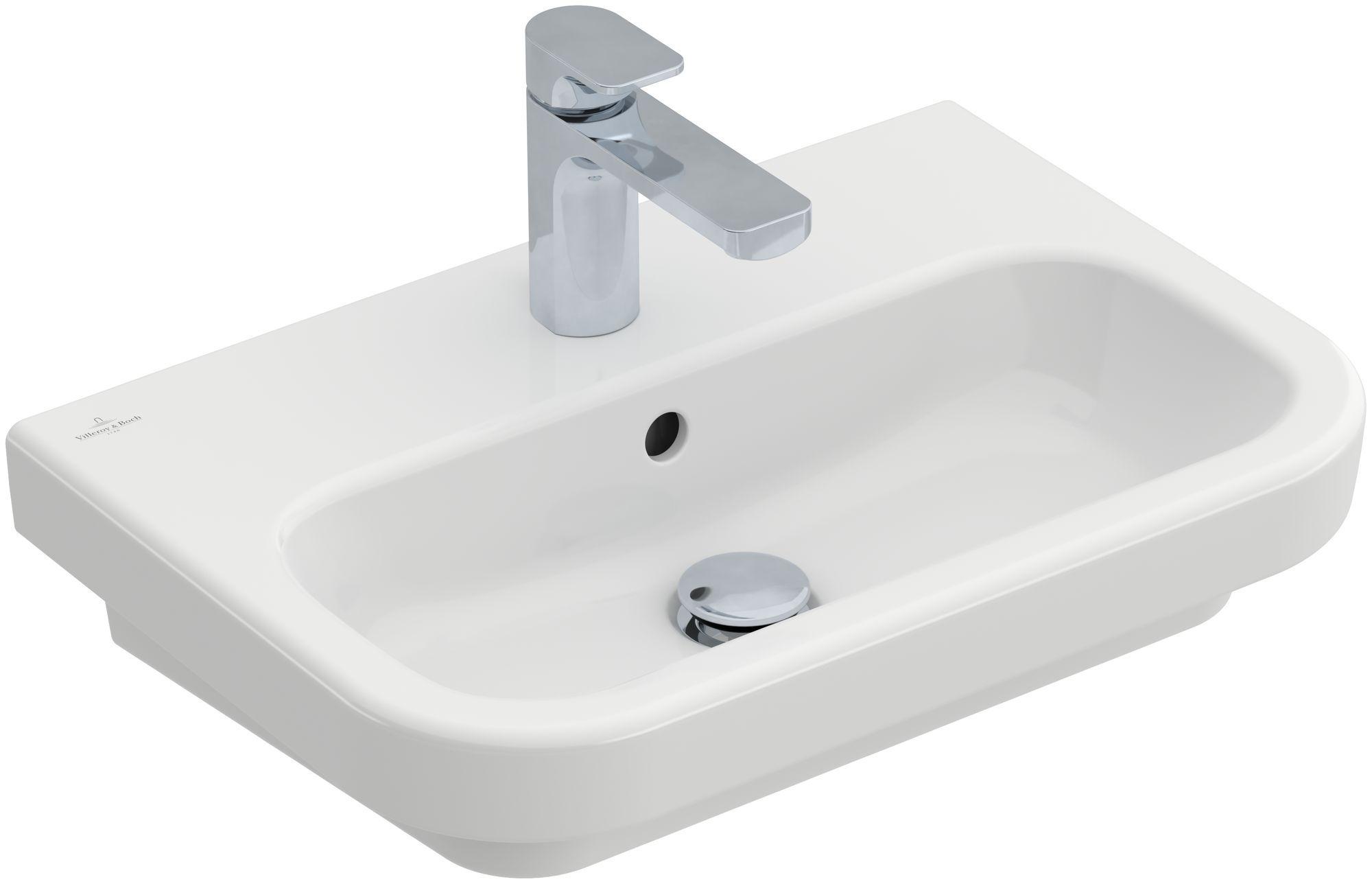 Villeroy & Boch Architectura Compact Waschtisch B:55xT:38cm mit 1 Hahnloch mit Überlauf weiß mit CeramicPlus 418955R1