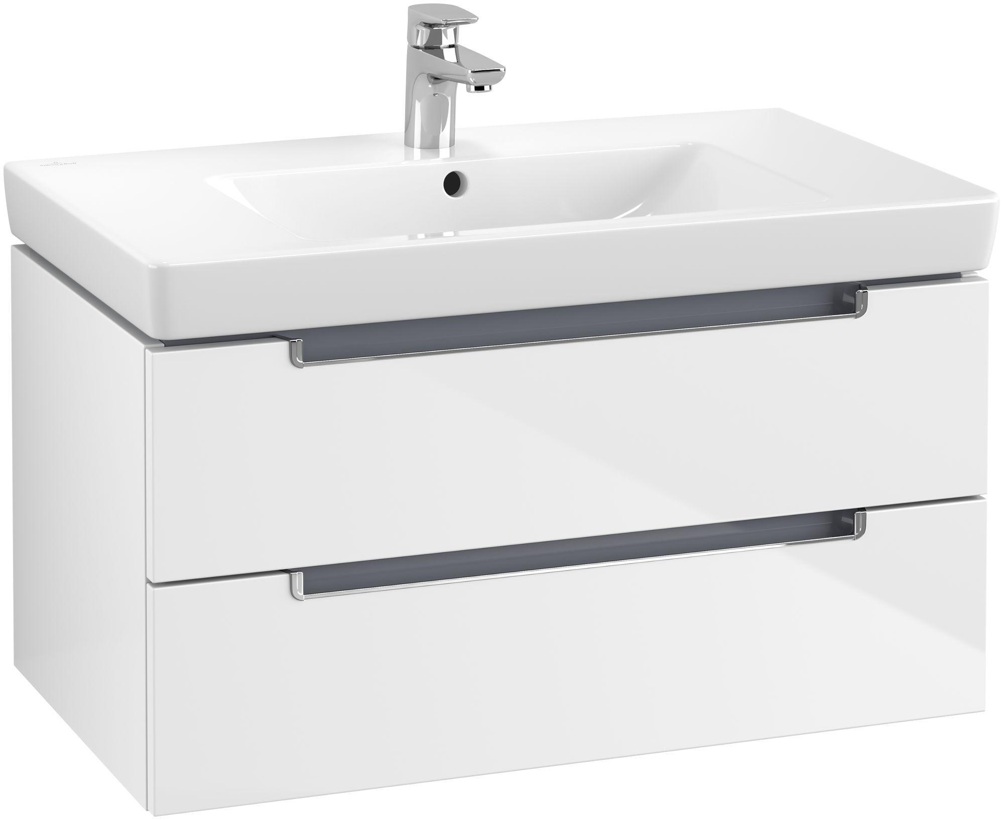 Villeroy & Boch Subway 2.0 Waschtischunterschrank 2 Auszüge B:787xT:449xH:420mm glossy weiß Griffe chrom A68910DH
