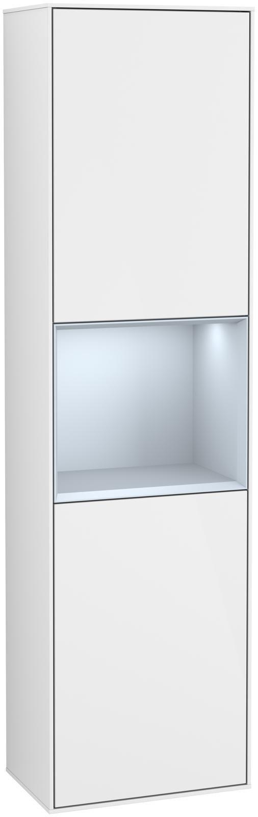 Villeroy & Boch Finion F46 Hochschrank mit Regalelement 2 Türen Anschlag links LED-Beleuchtung B:41,8xH:151,6xT:27cm Front, Korpus: Glossy White Lack, Regal: Cloud F460HAGF
