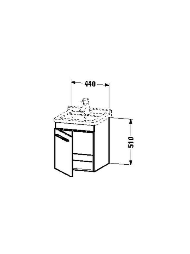 Duravit X-Large Waschtischunterschrank wandhängend B:44xH:51xT:44,3cm 1 Tür Türanschlag rechts eiche gebürstet XL6525R1212